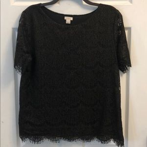 J. Crew lace and glittery top